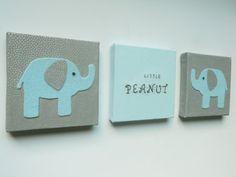 Blue elephant wall decor, elephant nursery wall art, little peanut