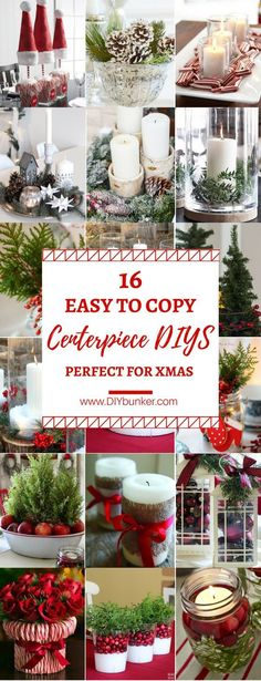 These 16 DIY Christmas Centerpiece Ideas Are So ADORABLE! I love how they all match with the red and white color scheme!