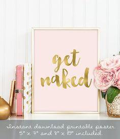 get naked poster / wall art print DIY / GOLDEN by JadeForestDecor