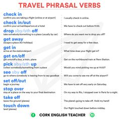 Phrasal Verbs Related to Travel - Fluent Land English Verbs, English Vocabulary Words, English Phrases, Grammar And Vocabulary, English Grammar, British Phrases, English Study, English Lessons, Learn English