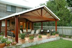 sloping lean to style pergola for outdoor sitting area Outdoor Pergola, Pergola Kits, Outdoor Rooms, Outdoor Living, Pergola Ideas, Pergola Lighting, Carport Ideas, Pergola Carport, Patio Diy