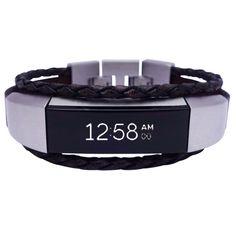 Fitbit Alta Bracelet Aurel black leather and stainless steel #fitbit #jewelery #fitbitalta