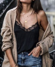 lace cami with cardigan