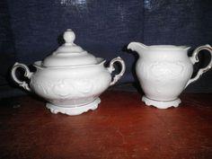 Royal Kent Poland White w/Gold Trim Covered Sugar Bowl & Creamer