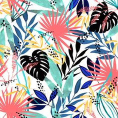 Colourful Tropical by Hygge Design Studio Seamless Repeat Royalty-Free Stock Pattern Tropical Paradise, Repeating Patterns, Hygge, Cool Stuff, Stuff To Buy, Print Patterns, How To Draw Hands, Royalty, Tropical Prints
