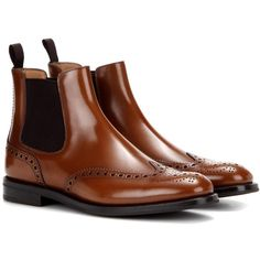Church's Ketsby Leather Chelsea Boots (€565) ❤ liked on Polyvore featuring shoes, boots, brown, chelsea bootie, leather chelsea ankle boots, church's boots, brown boots and brown shoes