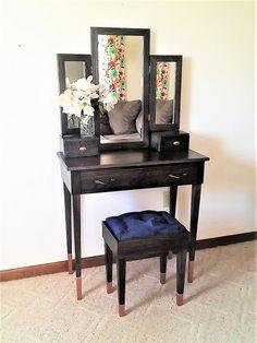 "Elegant Empress ""Black and Copper"" Oak Makeup Vanity Table - Make Up Desk Vanity, Mirrored Vanity Table, Ikea Makeup Vanity, Simple Desk, Mirror With Lights, Entryway Tables, Elegant, Copper, Furniture"