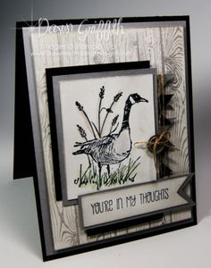 Stampin'Up! Wetlands stamp set  & Hardwood Stamp, Banner punch , A Dozen Thoughts stamp set  . I posted a video on this card :)