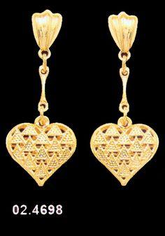 18K SKILLUS GOLD FILIGREE HEART DANGLE POST EARRINGS NON-ALLERGENIC! $16.99