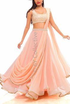 Mehendi & Sangeet Lehenga's under - Mehendi & Sangeet Lehenga's under – For the princess like feeling that a young bride wants - Indian Gowns Dresses, Indian Fashion Dresses, Indian Designer Outfits, Pakistani Dresses, Fashion Outfits, Party Wear Lehenga, Party Wear Dresses, Lehnga Dress, Lehenga Choli