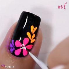 Nail Art Designs Videos, Nail Design Video, Nail Art Videos, Diy Nail Designs, Simple Nail Designs, Rose Nail Art, Flower Nail Art, Nail Art Hacks, Nail Art Diy