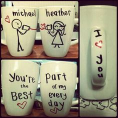 his & her mugs for the boyfriend & I. :)