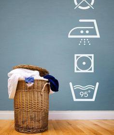 stickers per lavanderia - stickers for laundry *simplismente amei! Laundry Icons, Laundry Shop, Laundry Symbols, Laundry Logo, Laundry Labels, Contemporary Wall Stickers, Laundry Room Decals, Laundry Art, Coin Laundry