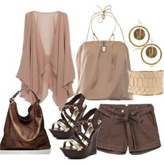 A fashion look from June 2012 featuring beige tank, Dondup and leopard print slip-on shoes. Browse and shop related looks. Brown Shorts Outfit, Summer Shorts Outfits, Shorts Outfits Women, Short Outfits, All About Fashion, Passion For Fashion, Love Fashion, Womens Fashion, Spring Summer Fashion