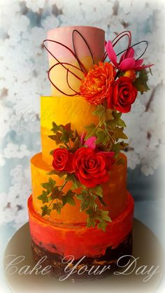 Fall Colors Wedding Cake - Cake by Cake Your Day (Susana van Welbergen)