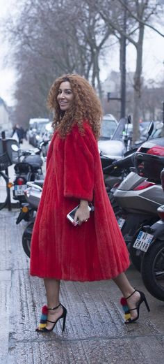 Winter Street Style: Red Coat and Colorful Heels