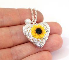 Sunflower Heart locket necklace, Gold Sunflower, Silver Plated Sunflower Locket, Birthday Gift, Sunflower Photo Locket by BridesmaidsGiftNicol on Etsy
