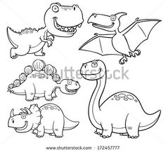 Vector illustration of Dinosaurs cartoon characters - Coloring book - stock…