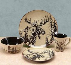 Click to buy Moose Dinnerware: Woodlands Moose Dinnerware Set from The Cabin Place!