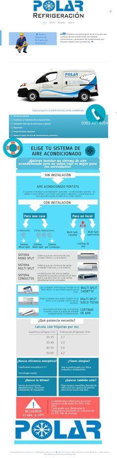 Diseño web empresarias para los productos y servicios de la firma Polar Refrigeración de Resistencia, Chaco, Argentina