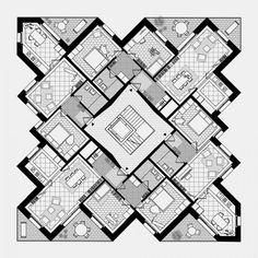 Practice for architecture and urbanism – Zurich Switzerland Hotel Architecture, Concept Architecture, Residential Architecture, Residential Building Plan, Hotel Floor Plan, Hotel Concept, House Layouts, Building Design, Planer