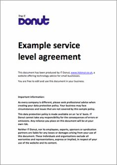 Agreement Templates, Business Agreements, Service Level Agreement Template:  Http://www.mstemplate.net/service Level Agreement Template.html | SLA ...