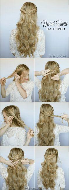 Half Up Fishtail Twist - Hair Hair Hair - Hochzeitsfrisuren-braided wedding updo-Wedding Hairstyles Trendy Hairstyles, Straight Hairstyles, Professional Hairstyles, Popular Hairstyles, Girl Hairstyles, Half Updo Tutorial, Straight Updo, Straight Cut, Braid Half Up Half Down