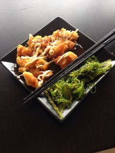 """My famous """"Chickenyaki"""" with seaweed salad."""