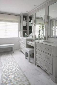 Bathroom tiles, master bathroom layout, light grey bathrooms, master bath v Master Bathroom Vanity, Master Bathroom Layout, Master Bathrooms, Bathroom Vanities, Bathroom Gray, Bathroom With Makeup Vanity, Master Bath Tile, Modern Bathroom, Gray Vanity