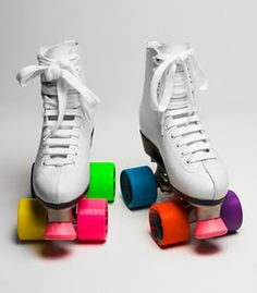 Rollin' Old School at the Couple Skate in Neon Roller Skates