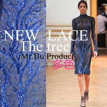 Fashion Big Tree Royal Blue Silver Sequin Embroidered Fabric Material Yarn Textile African Lace Sew Wedding Dress 1Yard 120CM (China (Mainland))