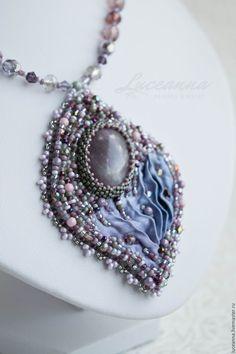 Beaded pendant with shibori