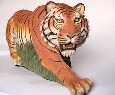 Tigre -  peças feitas em terracota - arte na argila