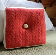 Square upcycled sweater pillow