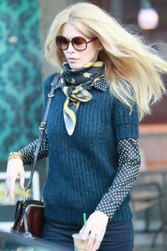 I don't usually pin celebrity shots... but this sweater that Claudia Schiffer is too good to pass up. Love her styling and her hair too.