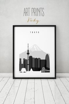Tokyo Skyline Poster Black And White Wall Art An Cityscape City Travel Home Decor Artprintsvicky