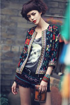 Three Quarter Sleeve Etnic Print Jacket