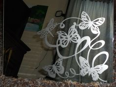 Butterfly hand etched mirror