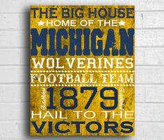 Sports Poster vintage Football Art NCAA Michigan Wolverines Print 8x10 or 12x16. $15.00, via Etsy.