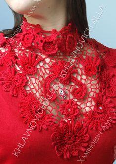 """Купить Блуза """"Пастораль"""" Модель № 698 - ярко-красный, ирландское кружево, блуза вязаная"""