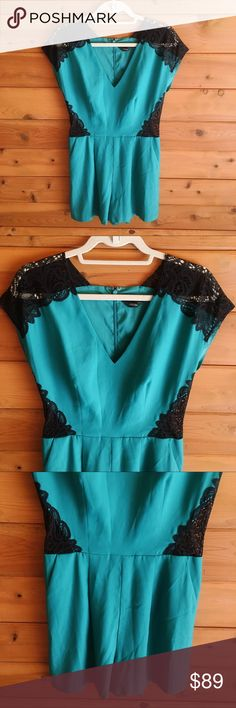 """Bebe Lace Inset Romper Beautiful turquoise coloring, sheer lace & lightweight paneling, would look awesome with an Embellished clutch and pumps. 100% polyester. 13"""" rise, 3"""" inseam, leg opening 29"""". Lined as well! I'd love for you to make me an offer ❤️ bebe Pants Jumpsuits & Rompers"""