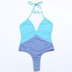 patchwork bikini set one piece swimwear