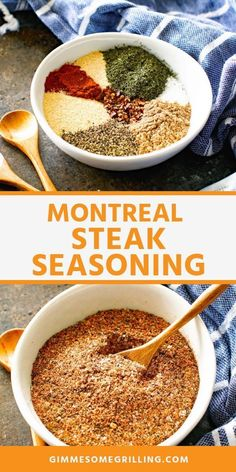 Copycat Montreal Steak Seasoning is made with pantry spices like paprika, pepper, salt, onion powder Best Steak Seasoning, Seasoning Mixes, Homemade Montreal Steak Seasoning Recipe, Seasoning Salt Recipe, Dry Rub Recipes, No Salt Recipes, Homemade Spices, Homemade Seasonings, Sauces