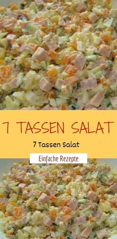 7 Tassen Salat Ingredients 1 cup of potato (s), diced, cooked 1 cup of ham, cooked, diced 1 cup of e Easy Salads, Healthy Salad Recipes, Healthy Snacks, Quick Easy Meals, Easy Dinner Recipes, Best Pasta Salad, Party Finger Foods, Brunch, Ground Beef Recipes