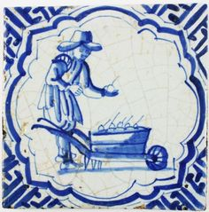 Antique Delft tile with a man selling apples from a wheelbarrow, 17th century