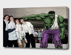 Buy It's A Knockout - Hulk Smash Beatles by Dan Avenell A recreation of the time Muhammad Ali met the Fab Four. Beatles Art, The Beatles, Superhero City, Art Of Dan, Hulk Smash, The Fab Four, Pop Art, Comic Books, Canvas Prints