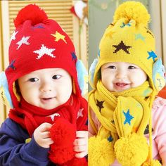Winter Child Hat Scarf Set Baby Shawl Beanie Full of Star Kids Winter Hats d368bfc7809
