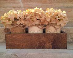 Mason Jar Planter, Planter Box With Painted Mason Jars, Rustic Table Centerpiece,Planter Box,Country Home Decor, Farmhouse Decor, Mason Jars