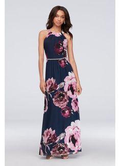 9d7fd752723d Floral Print Chiffon Halter Dress with Beaded Belt 9171244 Cruise Dress,  Bride Groom Dress,