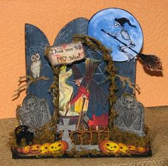 Dead men tell no tales.....Gothic Arch Halloween Shrine - Altered Pages Collage IMages; Sin City Stamps & Chipboard Shrine